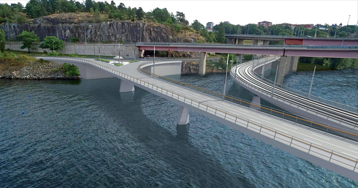 Lilla Lidingöbron. Illustration: Implenia Sverige AB